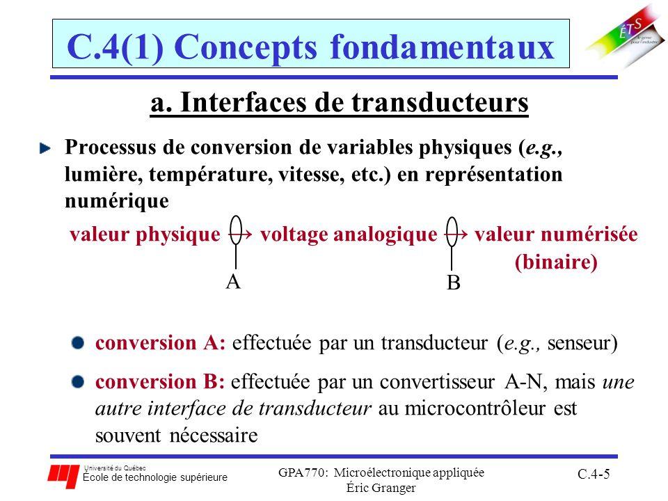Université du Québec École de technologie supérieure GPA770: Microélectronique appliquée C.4-66 C.4(3) Programmation du convertisseur Exemple 3: Mesurer 8 signaux analogiques inconnus connectés aux broches PAD0-7 du 68HC12 une fois et les stocker à partir de ladresse $0800 1.utilise V RH = 5V et V RL = 0V, et connecter les signaux aux PAD0-7 2.écrire ADPU = 1 pour activer 3.générer un délais de 100 µsec en logiciel 4.initialiser le système: pas dinterruptions, RAZ rapide des drapeaux, 8 conversions/séquence, 2 ATDclk/echan., réduction déchelle = 4 (conversions à 2 MHz), etc.