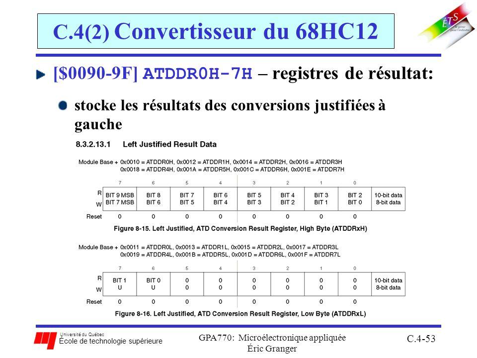 Université du Québec École de technologie supérieure GPA770: Microélectronique appliquée Éric Granger C.4-53 C.4(2) Convertisseur du 68HC12 [$0090-9F]