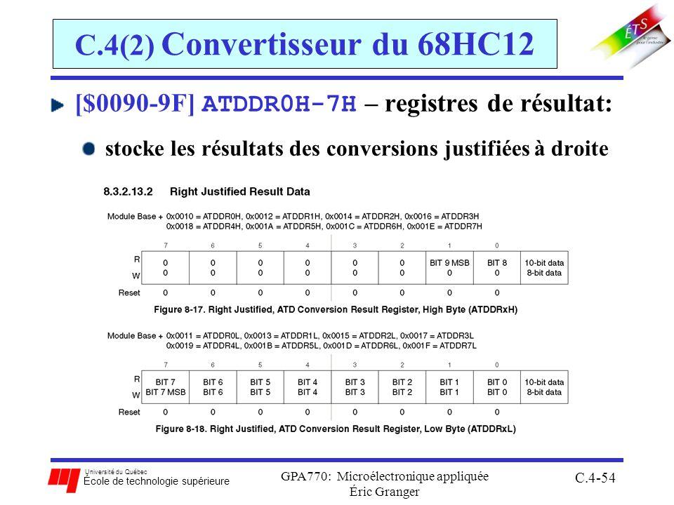 Université du Québec École de technologie supérieure GPA770: Microélectronique appliquée Éric Granger C.4-54 C.4(2) Convertisseur du 68HC12 [$0090-9F] ATDDR0H-7H – registres de résultat: stocke les résultats des conversions justifiées à droite