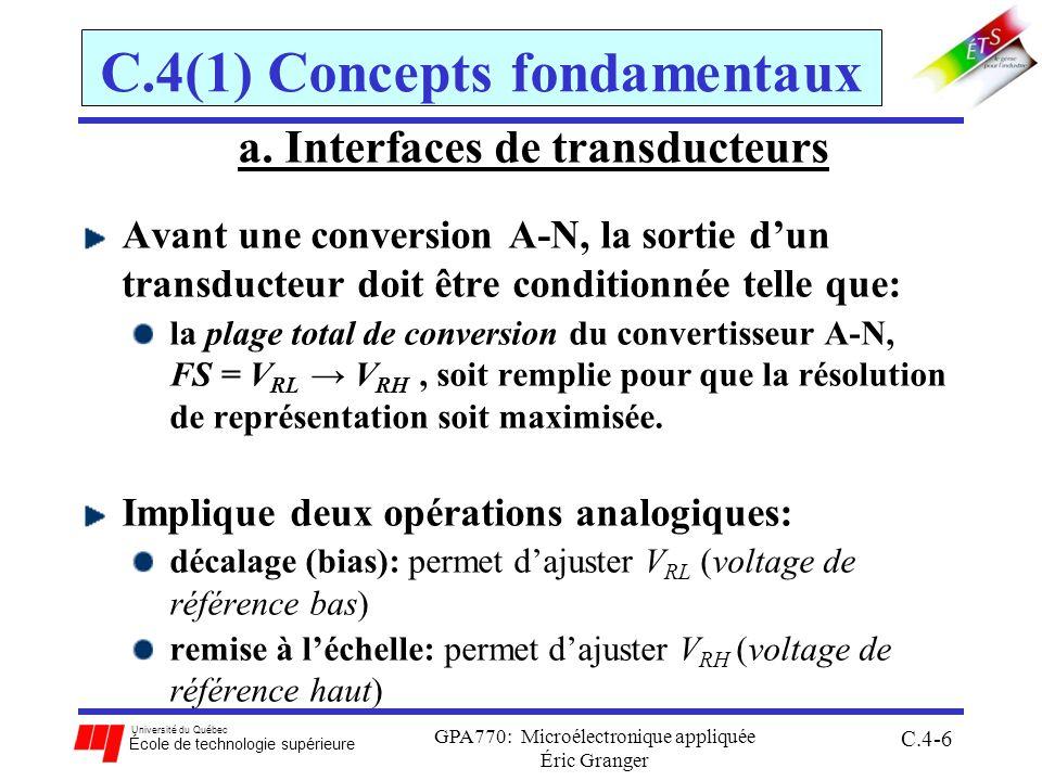 Université du Québec École de technologie supérieure GPA770: Microélectronique appliquée C.4-67 C.4(3) Programmation du convertisseur ;******************** ; Programme principal ATDCTL2-5EQU$0082-85; déclaration des adresses déjà fait dans ATDSTATEQU$0086; le fichier dinclusion mc9s12c32.inc ATDDR0H-3HEQU$0090-98 ORG $4000 LDX #$0800 ; adresse des résultats LDS#$1000 JSR INIT ; sr initialisation JSR CONVERT ; sr séquence de conversion Fin:BRAFin