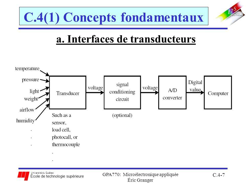 Université du Québec École de technologie supérieure GPA770: Microélectronique appliquée C.4-58 C.4(3) Programmation du convertisseur Exemple1: Mesurer un signal analogique inconnu connecté à la broche PAD6 du 68HCS12, 4 fois 1.utilise V RL = 0V et V RH = 5V, et connecter le signal au PAD6 2.écrire ADPU = 1 pour activer 3.générer un délai de 100 µsec en logiciel 4.initialiser le système: pas dinterruptions, RAZ normal des drapeaux, 4 conversions/séquence, 2 ATDclk/échant., réduction déchelle = 4 (conversions à 2 MHz), 8 bit non signés justifiés à droite.