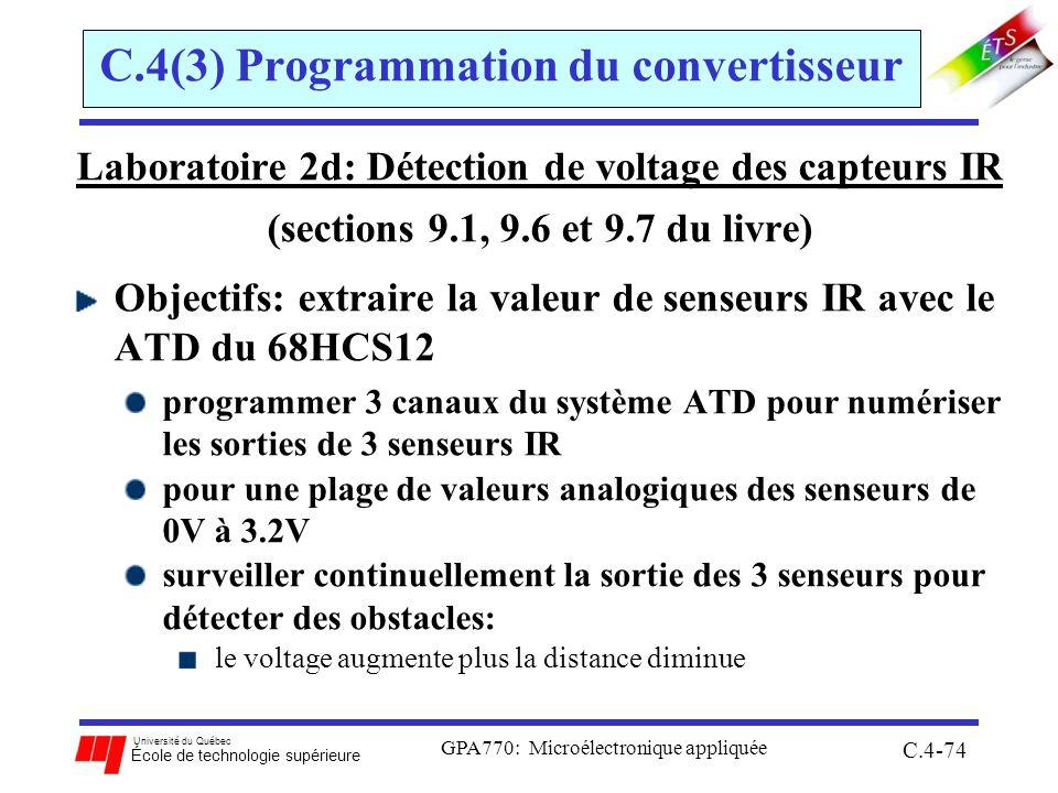 Université du Québec École de technologie supérieure GPA770: Microélectronique appliquée C.4-74 C.4(3) Programmation du convertisseur Laboratoire 2d: