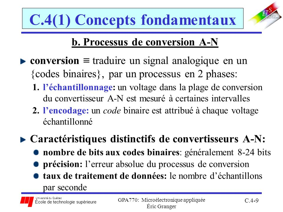 Université du Québec École de technologie supérieure GPA770: Microélectronique appliquée Éric Granger C.4-50 C.4(2) Convertisseur du 68HC12 [$0085] ATDCTL5 - registre de contrôle 5: SCAN : activer la conversion par balayage continu 0: effectue une séquence de conversion 1: effectue continuellement des séquences MULT : active le mode de conversion pour de multiples canaux 0: échantillonnage dun canal individuel 1: échantillonnage de canaux multiples CC,CB,CA : sélection du canal de départ