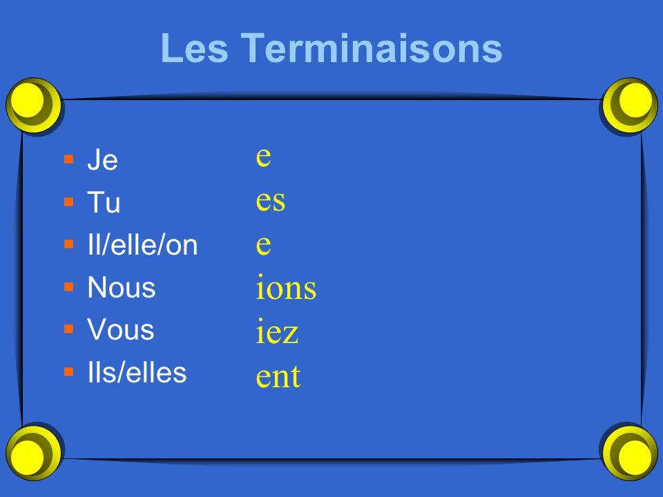 Les Terminaisons Je Tu Il/elle/on Nous Vous Ils/elles e es e ions iez ent