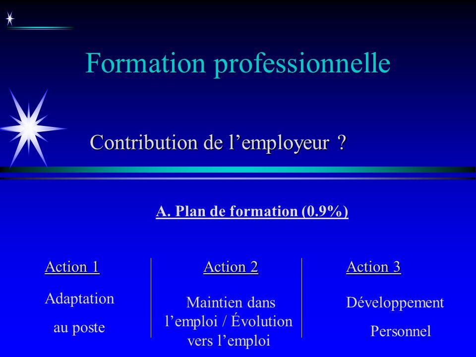 Formation professionnelle A. Plan de formation (0.9%) Action 1 Action 2 Action 3 Adaptation au poste Maintien dans lemploi / Évolution vers lemploi Dé
