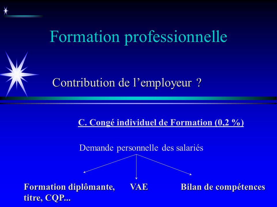 Formation professionnelle C. Congé individuel de Formation (0,2 %) Demande personnelle des salariés Formation diplômante, titre, CQP... VAE Bilan de c