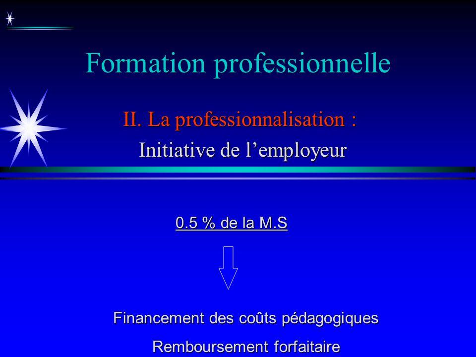 Formation professionnelle II. La professionnalisation : Initiative de lemployeur Initiative de lemployeur Financement des coûts pédagogiques Rembourse