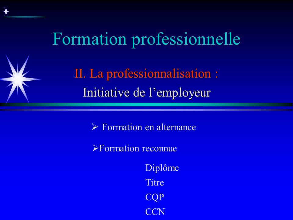 Formation professionnelle II. La professionnalisation : Initiative de lemployeur Formation en alternance Formation reconnue Diplôme Titre CQP CCN