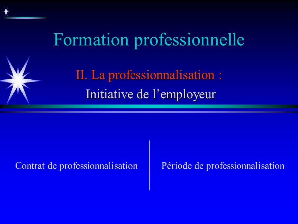 Formation professionnelle II. La professionnalisation : Initiative de lemployeur Initiative de lemployeur Période de professionnalisationContrat de pr
