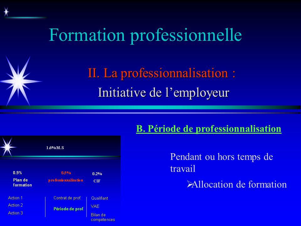 Formation professionnelle II. La professionnalisation : Initiative de lemployeur Initiative de lemployeur B. Période de professionnalisation Pendant o