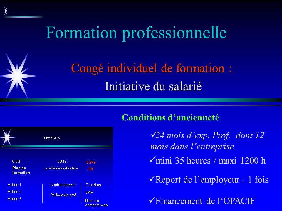 Formation professionnelle Congé individuel de formation : Initiative du salarié Initiative du salarié 24 mois dexp. Prof. dont 12 mois dans lentrepris
