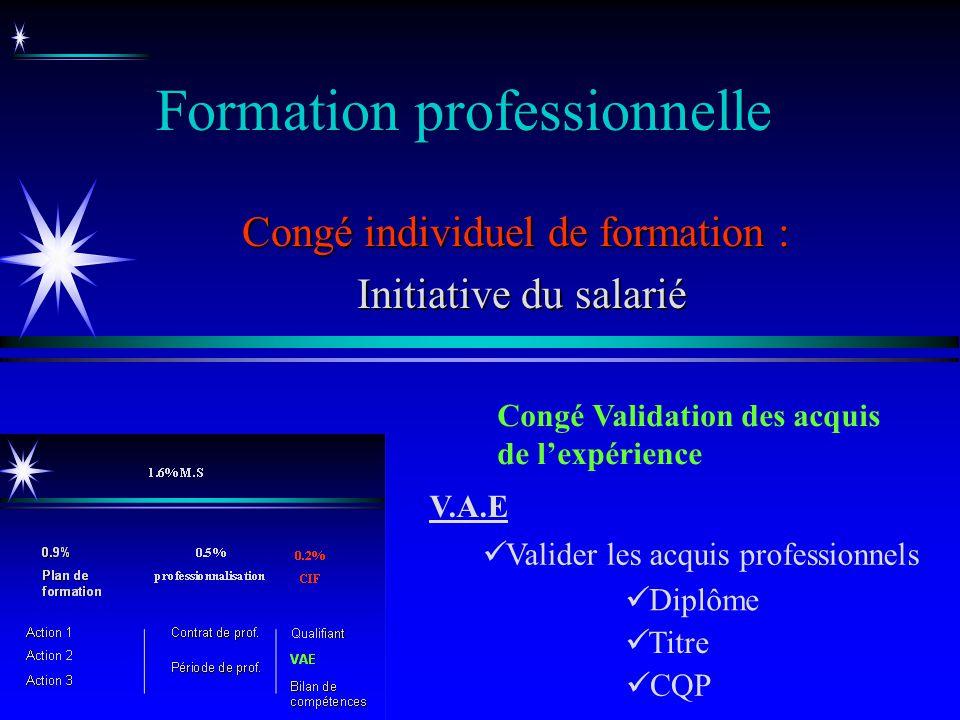 Formation professionnelle Congé individuel de formation : Initiative du salarié Initiative du salarié Congé Validation des acquis de lexpérience Diplô