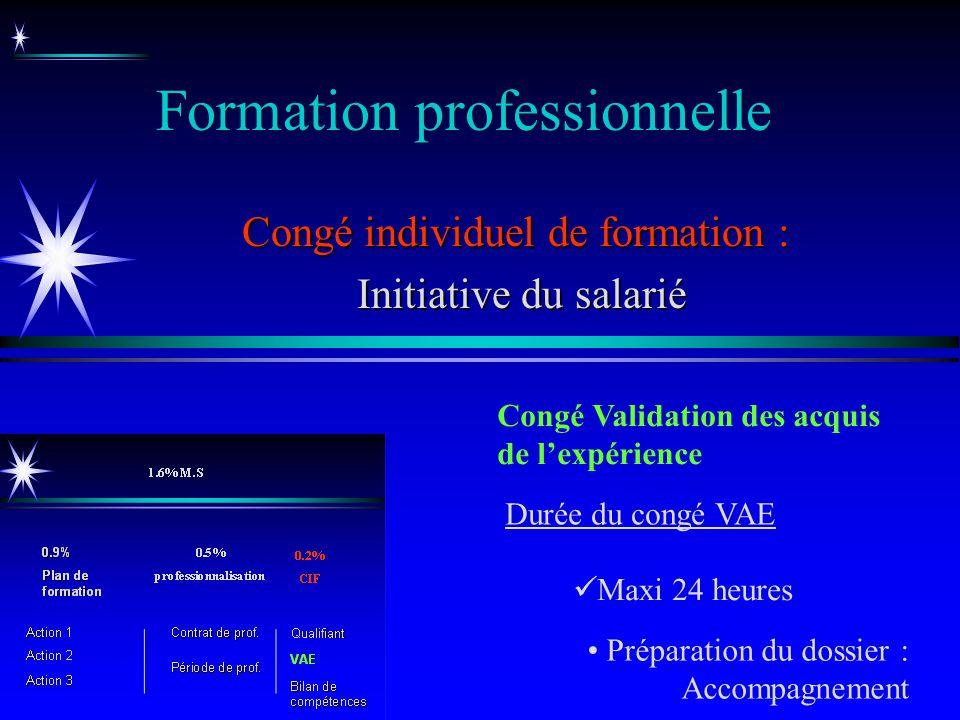 Formation professionnelle Congé individuel de formation : Initiative du salarié Initiative du salarié Congé Validation des acquis de lexpérience Maxi
