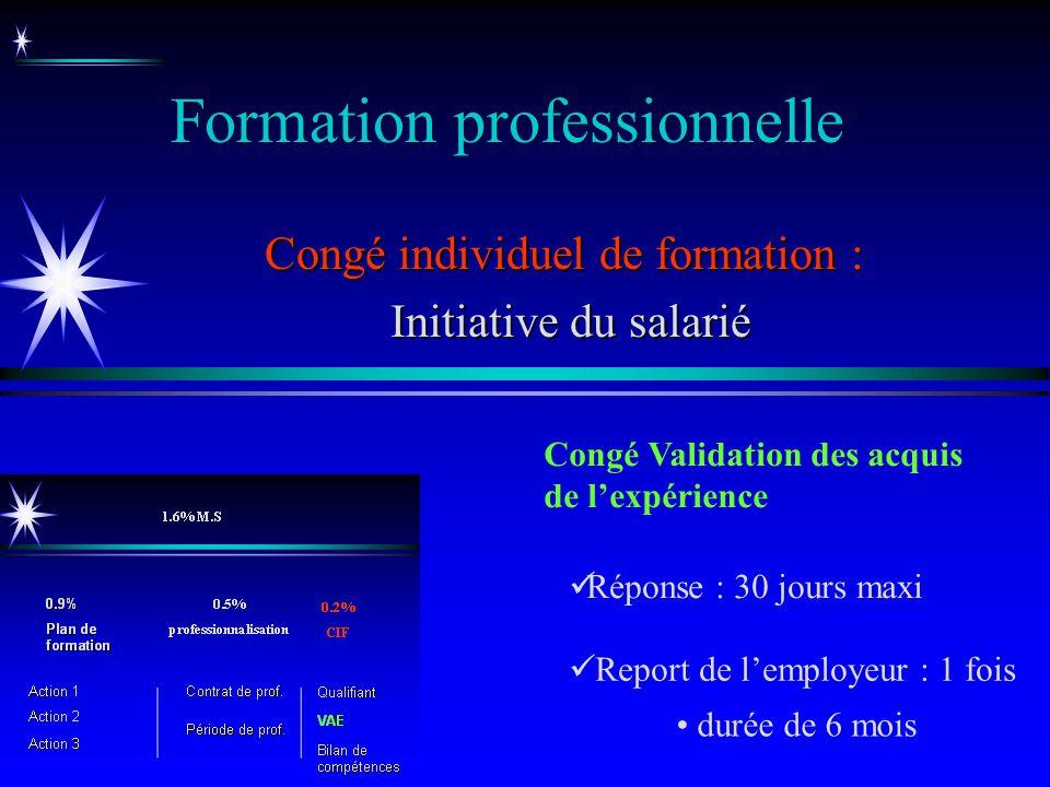 Formation professionnelle Congé individuel de formation : Initiative du salarié Initiative du salarié Congé Validation des acquis de lexpérience Repor