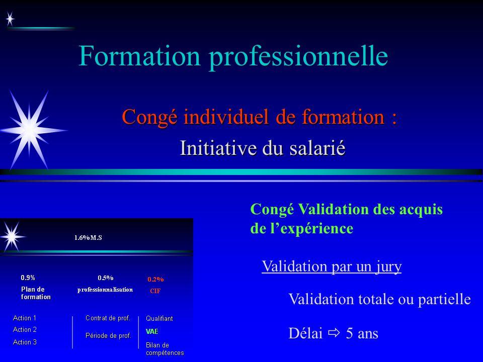 Formation professionnelle Congé individuel de formation : Initiative du salarié Initiative du salarié Congé Validation des acquis de lexpérience Délai