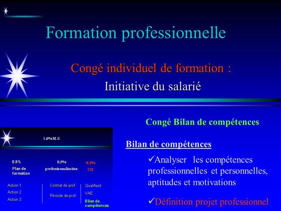 Formation professionnelle Congé individuel de formation : Initiative du salarié Initiative du salarié Congé Bilan de compétences Bilan de compétences