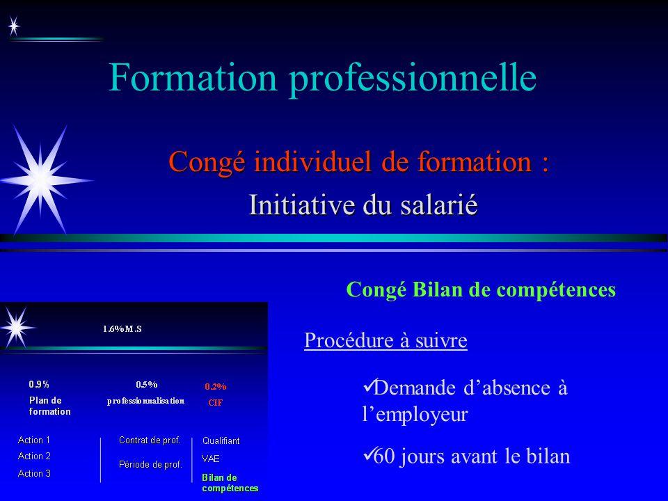 Formation professionnelle Congé individuel de formation : Initiative du salarié Initiative du salarié Congé Bilan de compétences Demande dabsence à le