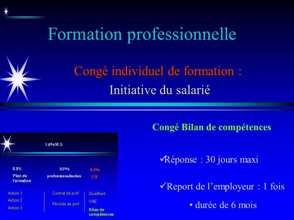 Formation professionnelle Congé individuel de formation : Initiative du salarié Initiative du salarié Congé Bilan de compétences Report de lemployeur