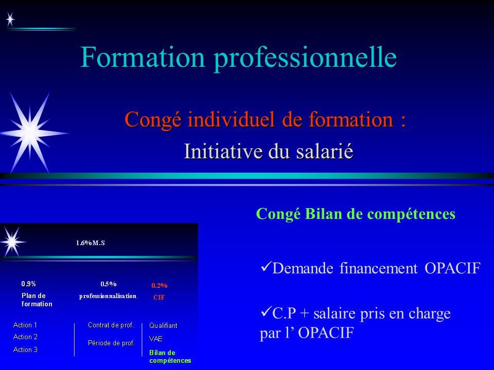 Formation professionnelle Congé individuel de formation : Initiative du salarié Initiative du salarié Congé Bilan de compétences C.P + salaire pris en