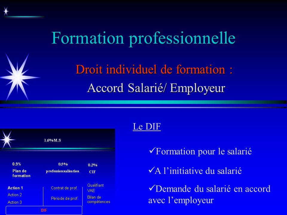 Formation professionnelle A linitiative du salarié Droit individuel de formation : Accord Salarié/ Employeur Accord Salarié/ Employeur Formation pour