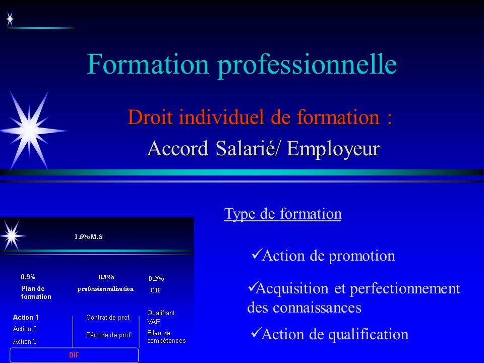 Formation professionnelle Acquisition et perfectionnement des connaissances Droit individuel de formation : Accord Salarié/ Employeur Accord Salarié/