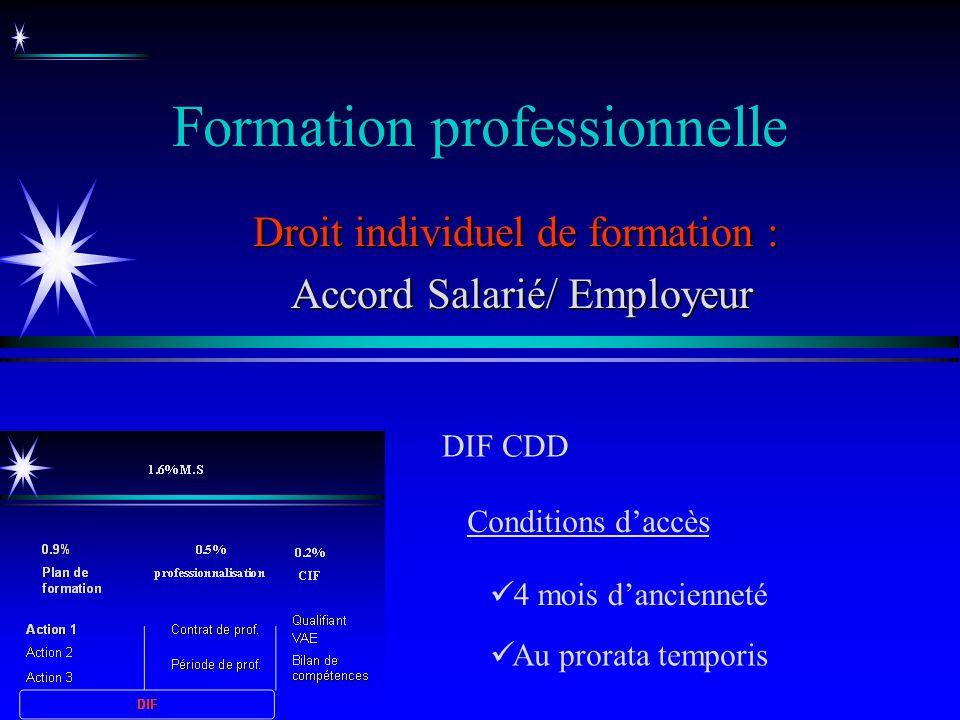 Formation professionnelle Droit individuel de formation : Accord Salarié/ Employeur Accord Salarié/ Employeur DIF CDD Au prorata temporis 4 mois danci