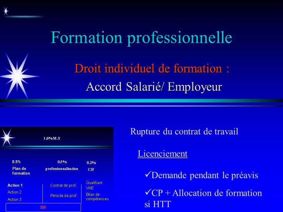 Formation professionnelle Droit individuel de formation : Accord Salarié/ Employeur Accord Salarié/ Employeur Rupture du contrat de travail CP + Alloc