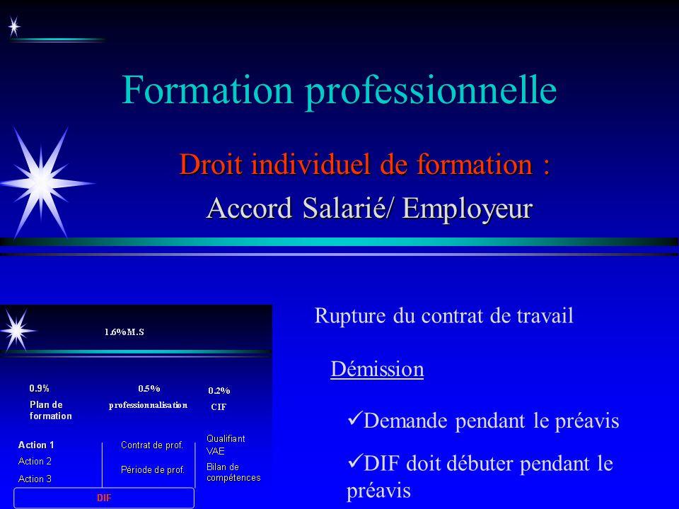 Formation professionnelle Droit individuel de formation : Accord Salarié/ Employeur Accord Salarié/ Employeur Rupture du contrat de travail DIF doit d
