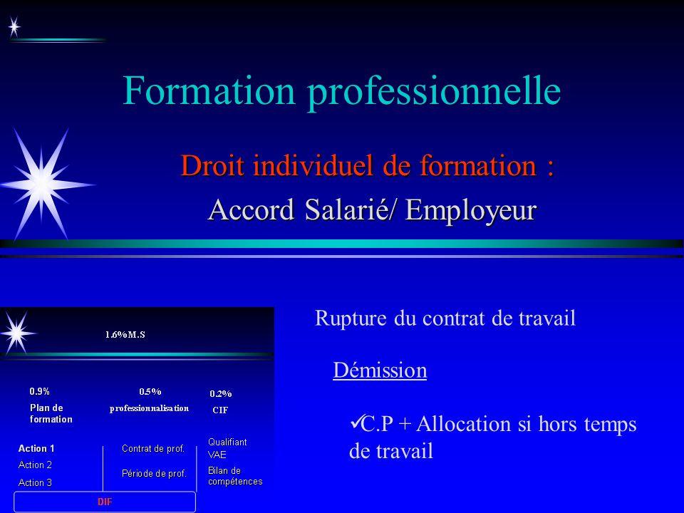 Formation professionnelle Droit individuel de formation : Accord Salarié/ Employeur Accord Salarié/ Employeur Rupture du contrat de travail C.P + Allo