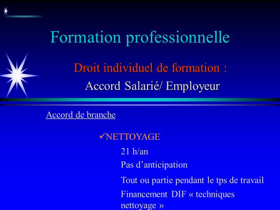 Formation professionnelle Droit individuel de formation : Accord Salarié/ Employeur Accord Salarié/ Employeur NETTOYAGE Accord de branche 21 h/an Pas