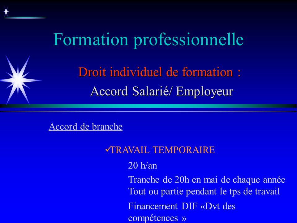 Formation professionnelle Droit individuel de formation : Accord Salarié/ Employeur Accord Salarié/ Employeur TRAVAIL TEMPORAIRE Accord de branche 20