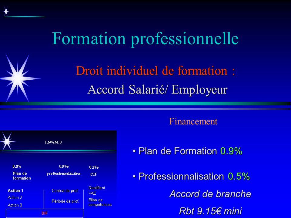 Formation professionnelle Droit individuel de formation : Accord Salarié/ Employeur Accord Salarié/ Employeur Financement Plan de Formation 0.9% Plan