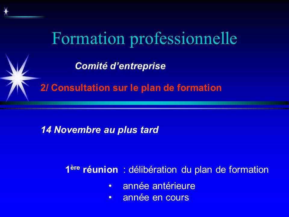 Formation professionnelle 1 ère réunion : délibération du plan de formation année antérieure année en cours Comité dentreprise 2/ Consultation sur le