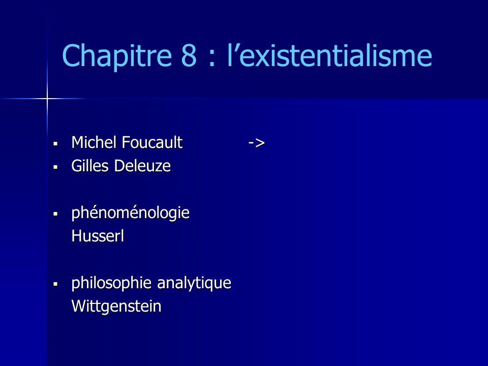 Chapitre 8 : lexistentialisme HUSSERL HUSSERL Krisis (1935) Krisis (1935) philosophie « science rigoureuse » philosophie « science rigoureuse » objectivisme objectivisme subjectivisme subjectivisme le « cœur de la raison » le « cœur de la raison »