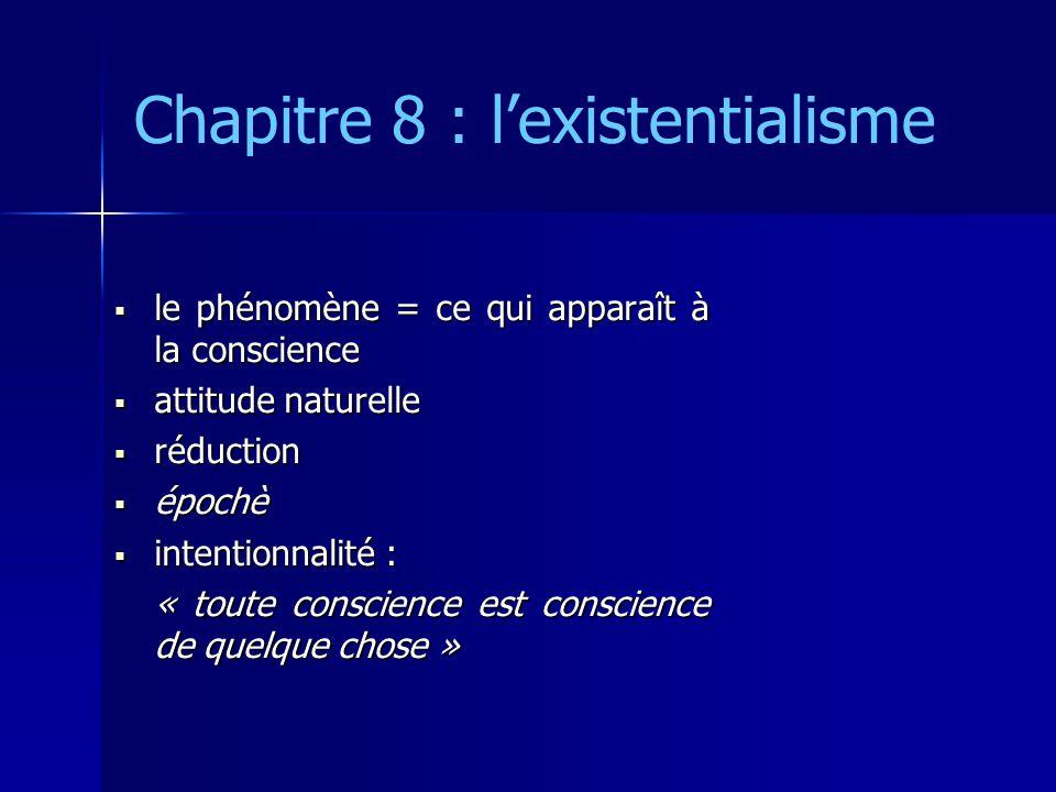 Chapitre 8 : lexistentialisme le phénomène = ce qui apparaît à la conscience le phénomène = ce qui apparaît à la conscience attitude naturelle attitude naturelle réduction réduction épochè épochè intentionnalité : intentionnalité : « toute conscience est conscience de quelque chose »