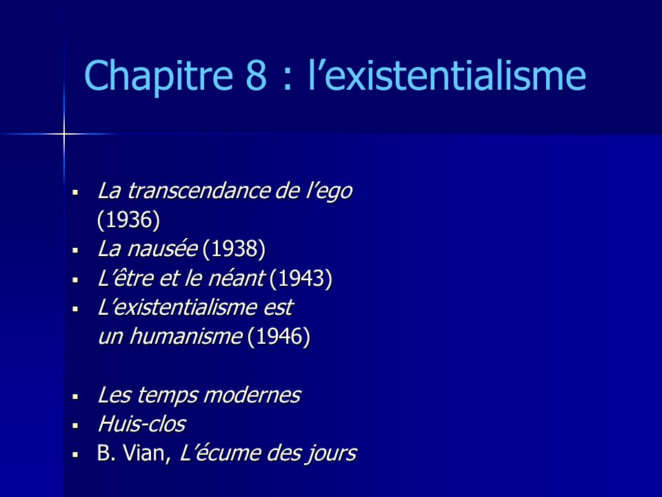Chapitre 8 : lexistentialisme La transcendance de lego La transcendance de lego(1936) La nausée (1938) La nausée (1938) Lêtre et le néant (1943) Lêtre et le néant (1943) Lexistentialisme est Lexistentialisme est un humanisme (1946) Les temps modernes Les temps modernes Huis-clos Huis-clos B.