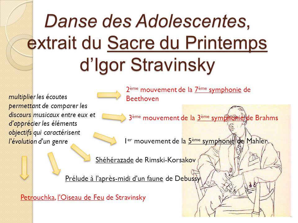 Danse des Adolescentes, extrait du Sacre du Printemps dIgor Stravinsky multiplier les écoutes permettant de comparer les discours musicaux entre eux et dapprécier les éléments objectifs qui caractérisent l évolution d un genre 2 ème mouvement de la 7 ème symphonie de Beethoven 3 ème mouvement de la 3 ème symphonie de Brahms 1 er mouvement de la 5 ème symphonie de Mahler Shéhérazade de Rimski-Korsakov Prélude à laprès-midi dun faune de Debussy Petrouchka, lOiseau de Feu de Stravinsky