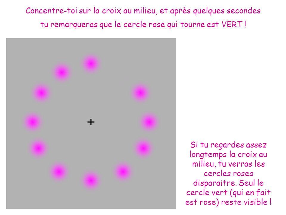 Concentre-toi sur la croix au milieu, et après quelques secondes tu remarqueras que le cercle rose qui tourne est VERT .