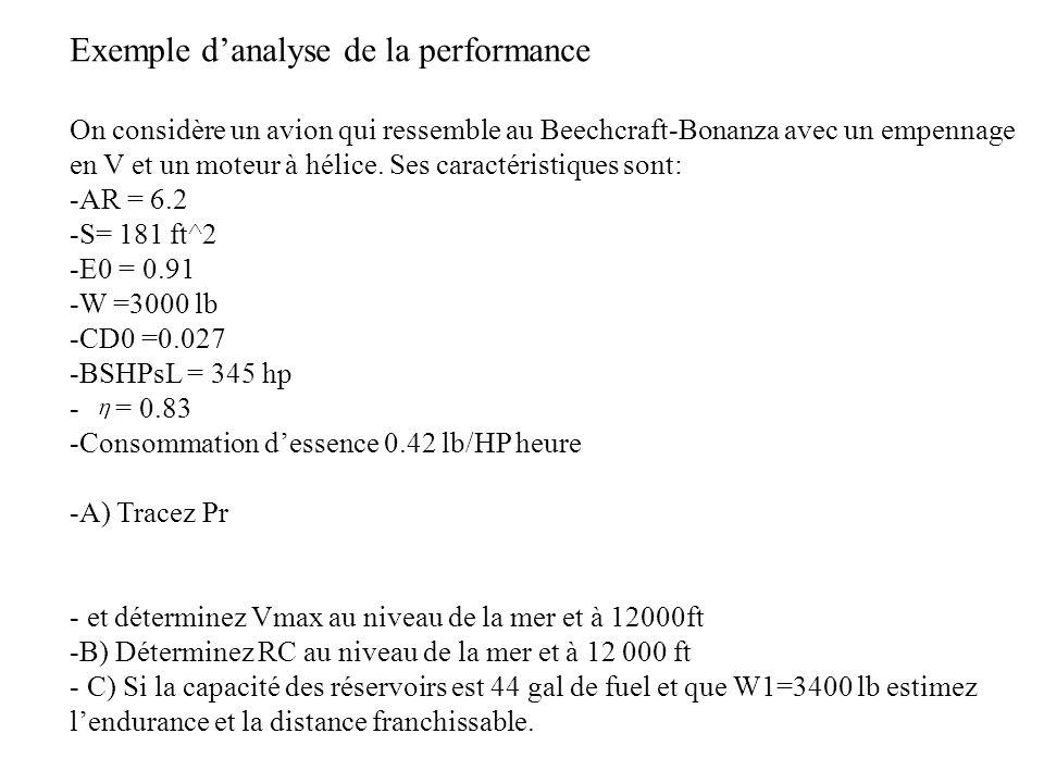 Exemple danalyse de la performance On considère un avion qui ressemble au Beechcraft-Bonanza avec un empennage en V et un moteur à hélice.