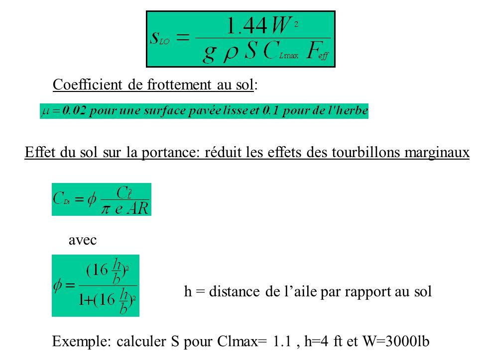 Coefficient de frottement au sol: Effet du sol sur la portance: réduit les effets des tourbillons marginaux avec h = distance de laile par rapport au sol Exemple: calculer S pour Clmax= 1.1, h=4 ft et W=3000lb
