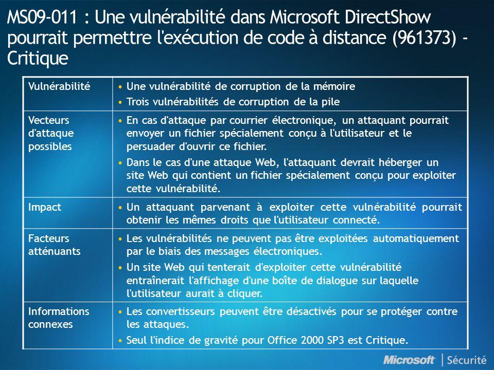 MS09-011 : Une vulnérabilité dans Microsoft DirectShow pourrait permettre l exécution de code à distance (961373) - Critique VulnérabilitéUne vulnérabilité de corruption de la mémoire Trois vulnérabilités de corruption de la pile Vecteurs d attaque possibles En cas d attaque par courrier électronique, un attaquant pourrait envoyer un fichier spécialement conçu à l utilisateur et le persuader d ouvrir ce fichier.