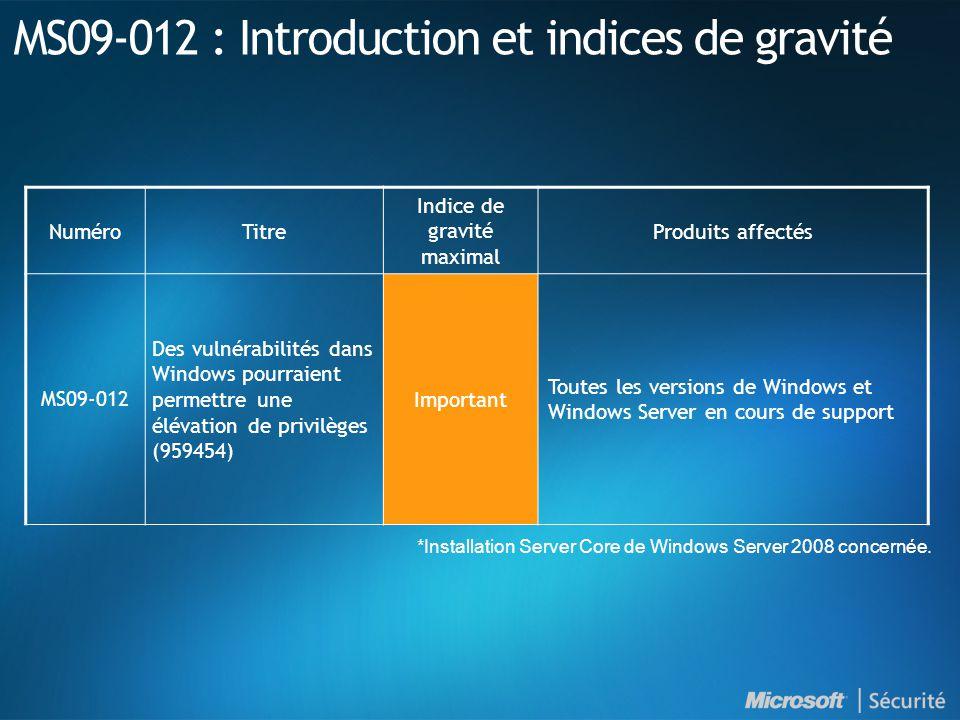 MS09-012 : Introduction et indices de gravité NuméroTitre Indice de gravité maximal Produits affectés MS09-012 Des vulnérabilités dans Windows pourraient permettre une élévation de privilèges (959454) Important Toutes les versions de Windows et Windows Server en cours de support *Installation Server Core de Windows Server 2008 concernée.
