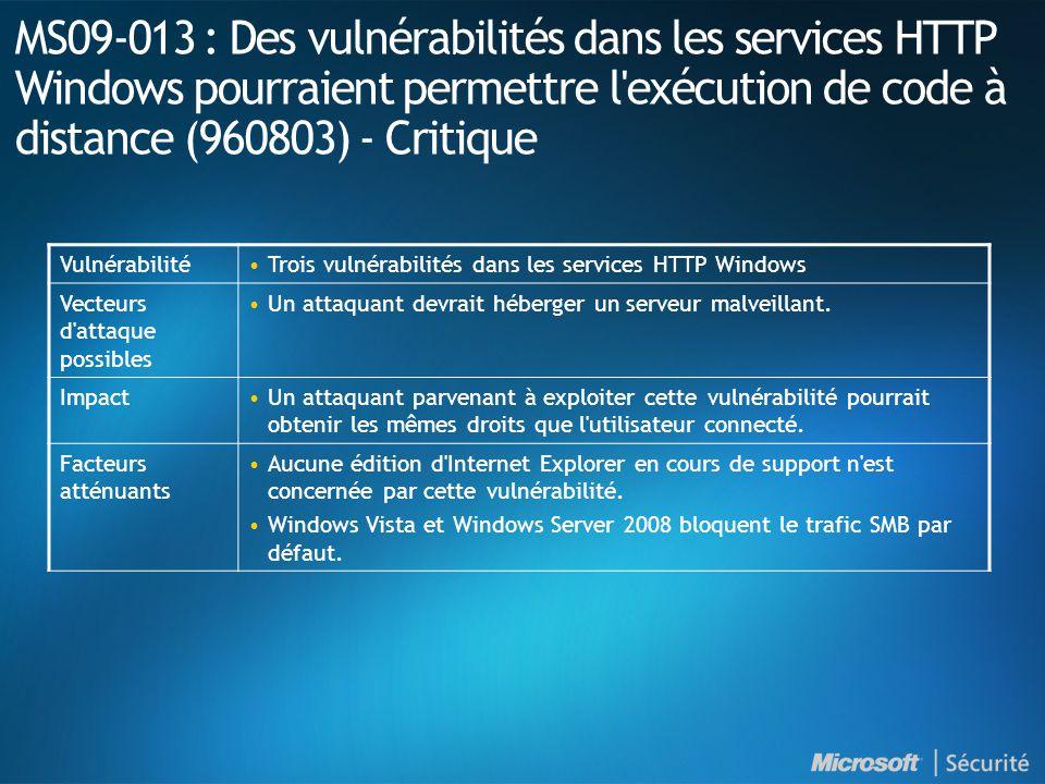 MS09-013 : Des vulnérabilités dans les services HTTP Windows pourraient permettre l exécution de code à distance (960803) - Critique VulnérabilitéTrois vulnérabilités dans les services HTTP Windows Vecteurs d attaque possibles Un attaquant devrait héberger un serveur malveillant.