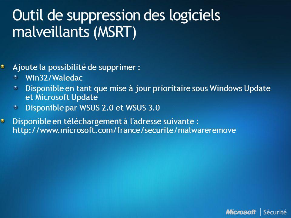 Outil de suppression des logiciels malveillants (MSRT) Ajoute la possibilité de supprimer : Win32/Waledac Disponible en tant que mise à jour prioritaire sous Windows Update et Microsoft Update Disponible par WSUS 2.0 et WSUS 3.0 Disponible en téléchargement à l adresse suivante : http://www.microsoft.com/france/securite/malwareremove