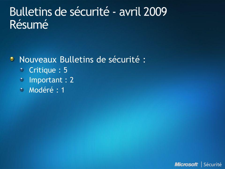 Bulletins de sécurité - avril 2009 Résumé Nouveaux Bulletins de sécurité : Critique : 5 Important : 2 Modéré : 1