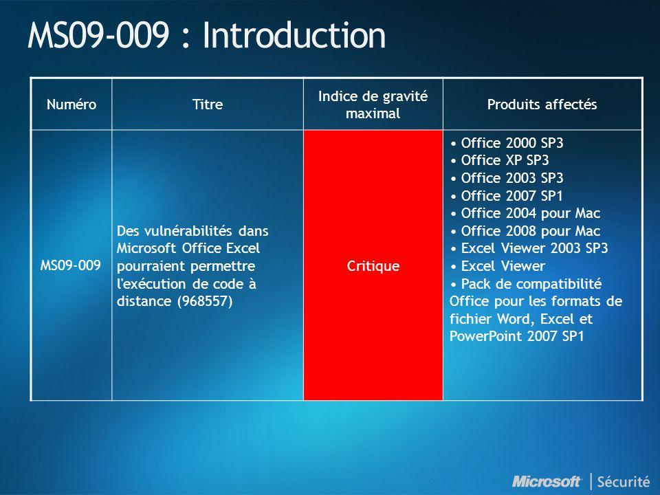MS09-009 : Introduction NuméroTitre Indice de gravité maximal Produits affectés MS09-009 Des vulnérabilités dans Microsoft Office Excel pourraient permettre l exécution de code à distance (968557) Critique Office 2000 SP3 Office XP SP3 Office 2003 SP3 Office 2007 SP1 Office 2004 pour Mac Office 2008 pour Mac Excel Viewer 2003 SP3 Excel Viewer Pack de compatibilité Office pour les formats de fichier Word, Excel et PowerPoint 2007 SP1