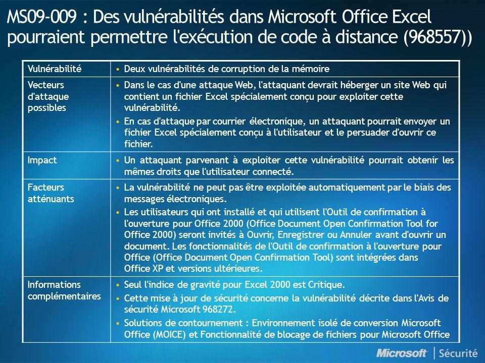 MS09-010 : Introduction NuméroTitre Indice de gravité maximal Produits affectés MS09-010 Des vulnérabilités dans les convertisseurs de texte WordPad et Office pourraient permettre l exécution de code à distance (960477) Critique Windows 2000 SP4 Windows XP SP2 et SP3 Windows XP Professional x64 aucun SP et SP2 Windows Server 2003 : SP1 et SP2 x64 aucun SP et SP2 Itanium SP1 et SP2 Office 2000 SP3 Office XP SP3 Pack de conversion Office