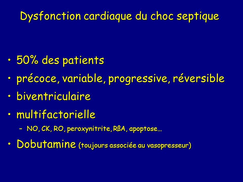 Dysfonction cardiaque du choc septique 50% des patients50% des patients précoce, variable, progressive, réversibleprécoce, variable, progressive, réversible biventriculairebiventriculaire multifactoriellemultifactorielle –NO, CK, RO, peroxynitrite, RßA, apoptose… Dobutamine (toujours associée au vasopresseur)Dobutamine (toujours associée au vasopresseur)
