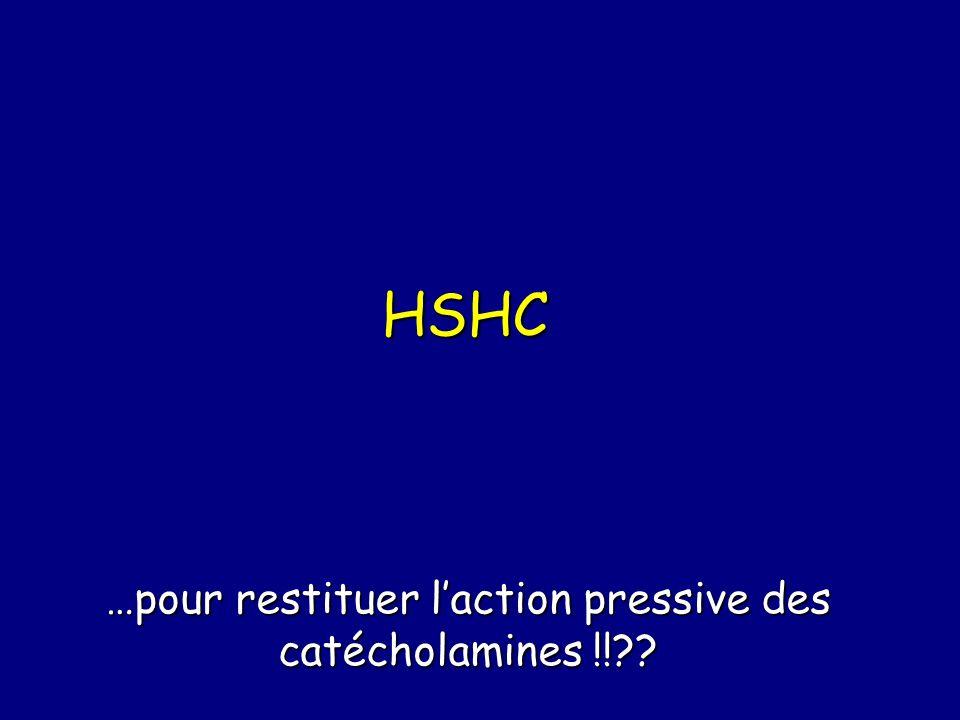 HSHC …pour restituer laction pressive des catécholamines !!??