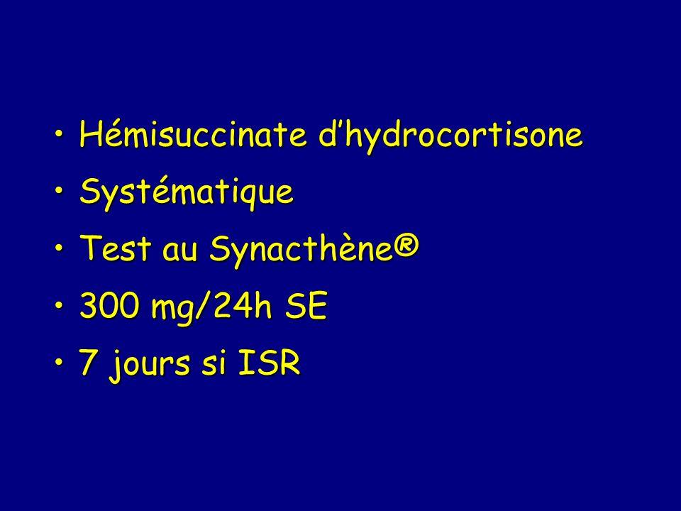 Hémisuccinate dhydrocortisoneHémisuccinate dhydrocortisone SystématiqueSystématique Test au Synacthène®Test au Synacthène® 300 mg/24h SE300 mg/24h SE 7 jours si ISR7 jours si ISR